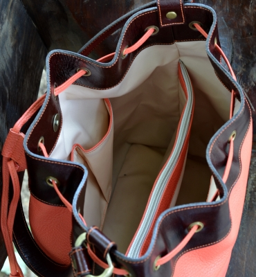 Brown-Orange Leather Bucket Bag - All Season Bucket