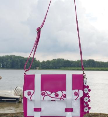 Cybil-Pink-Leather-Messenger-Details