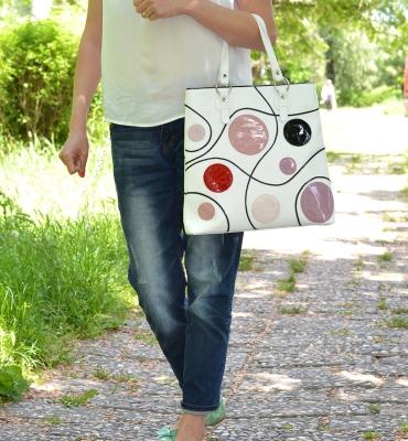 Dots-leather-shopper-bag-details