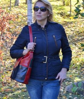 Geanta Irina - red, dark blue