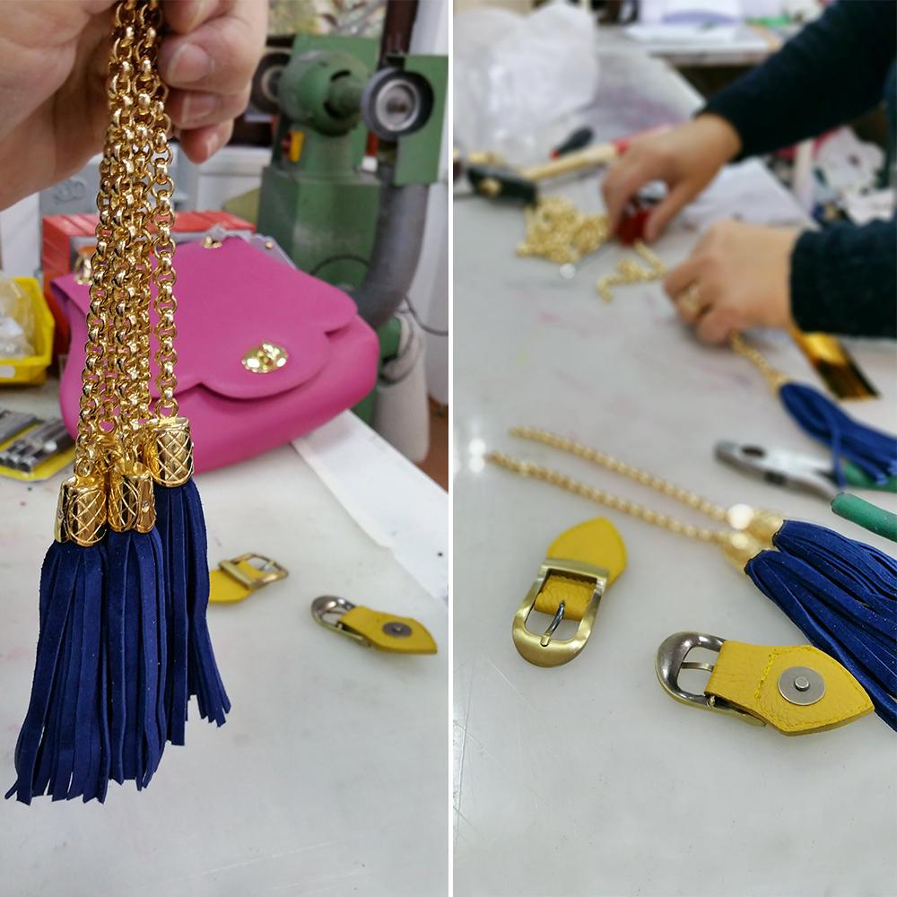 Detalii handmade in Atelierul de marochinarie unde se fabrica posete