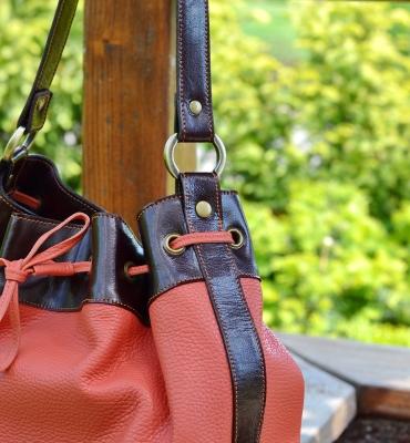 Brown-Orange Leather Bucket Bag - All Season Bucket