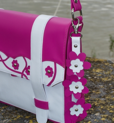 Cybil-Pink-Leather-Messenger-Details