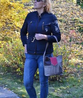 Poseta Irinuca - burgundy, gray, red